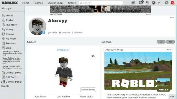 Roblox account with shirts and a hat
