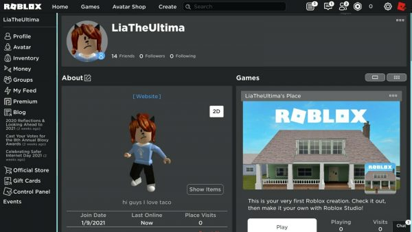 great roblox girl account(some games it has items)