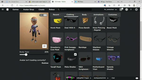 roblox account staced with meta shades and rb swords